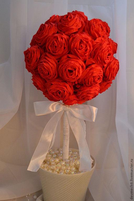 Топиарии ручной работы. Ярмарка Мастеров - ручная работа. Купить Топиарий из алых роз. Handmade. Ярко-красный, украшение для стола