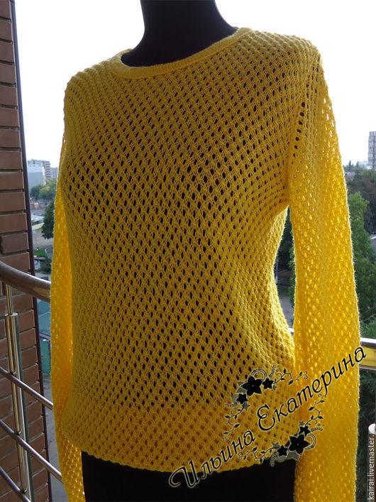 Кофты и свитера ручной работы. Ярмарка Мастеров - ручная работа. Купить Ажурная кофта. Handmade. Желтый, кофта вязаная
