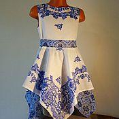 Работы для детей, ручной работы. Ярмарка Мастеров - ручная работа Детское платье с синими кружевами. Handmade.