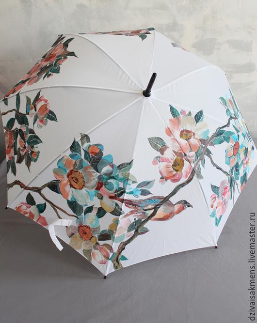 Зонты ручной работы. Ярмарка Мастеров - ручная работа. Купить Зонт трость с ручной росписью Цветущая сакура и две птицы. Handmade.