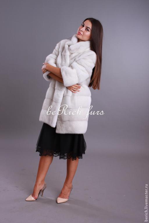 Верхняя одежда ручной работы. Ярмарка Мастеров - ручная работа. Купить Шуба из канадской норки Виолет. Handmade. Белый