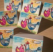 """Открытки ручной работы. Ярмарка Мастеров - ручная работа открытка """" Влюбленные петушки - мини"""". Handmade."""