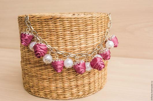 Браслеты ручной работы. Ярмарка Мастеров - ручная работа. Купить Браслет розовый белый розы. Handmade. Розовый, браслет на руку