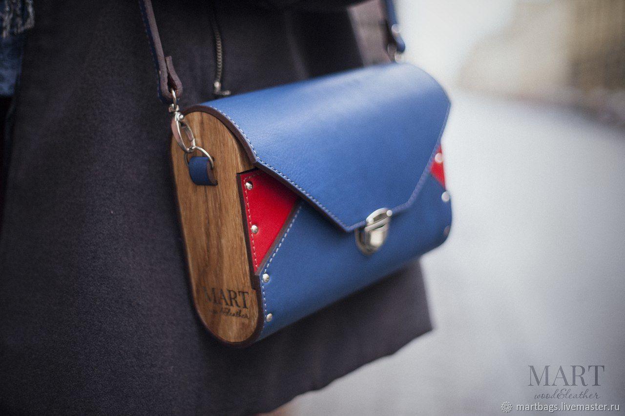 68916f8e75fb ... женская кожаная сумка из кожи и дерева синяя красная сумка натуральная  кожа деревянная сумка лондон британия