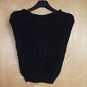 Одежда ручной работы. Ярмарка Мастеров - ручная работа Безрукавка вязаная чёрная. Handmade.