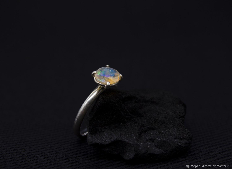 Space flash ring silver, Ethiopian opal, Rings, Krasnoyarsk,  Фото №1