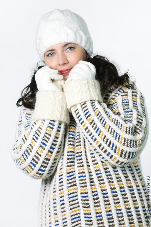 Верхняя одежда ручной работы. Ярмарка Мастеров - ручная работа. Купить Вязанное пальто Снежная королева. Handmade. Белый, на заказ