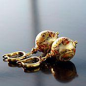 Украшения ручной работы. Ярмарка Мастеров - ручная работа Серьги тенша осень золото горчица винтаж. Handmade.