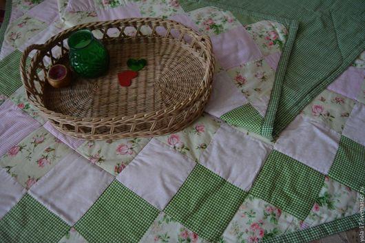 """Текстиль, ковры ручной работы. Ярмарка Мастеров - ручная работа. Купить Лоскутное одеяло """"Летнее"""". Handmade. Зеленый, хлопок"""