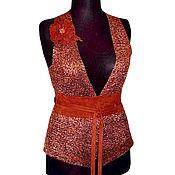 """Одежда ручной работы. Ярмарка Мастеров - ручная работа Валяный жилет """"Terracotta"""" нуновойлок шелк шерсть. Handmade."""