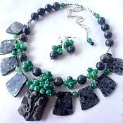 Jewelry Sets handmade. Livemaster - original item 2niti NECKLACE EARRINGS green AGATE, LARVIKITE (FACETED) beads.. Handmade.