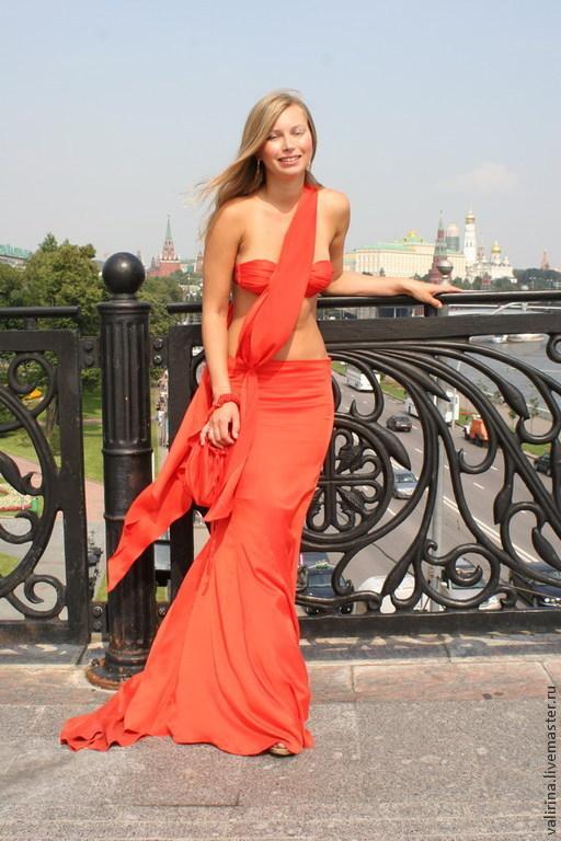 """Платья ручной работы. Ярмарка Мастеров - ручная работа. Купить """"Lady in red"""". Handmade. Ярко-красный, юбка в пол"""