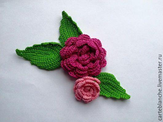 Цветы ручной работы. Ярмарка Мастеров - ручная работа. Купить Вязаные цветы (объемные). Handmade. Ярко-красный, аппликации крючком