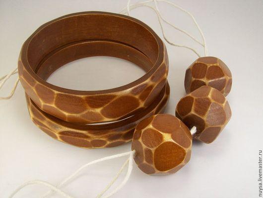 Украшения деревянные Комплект тонкие коричневые браслеты бусы  Этно стиль Бижутерия