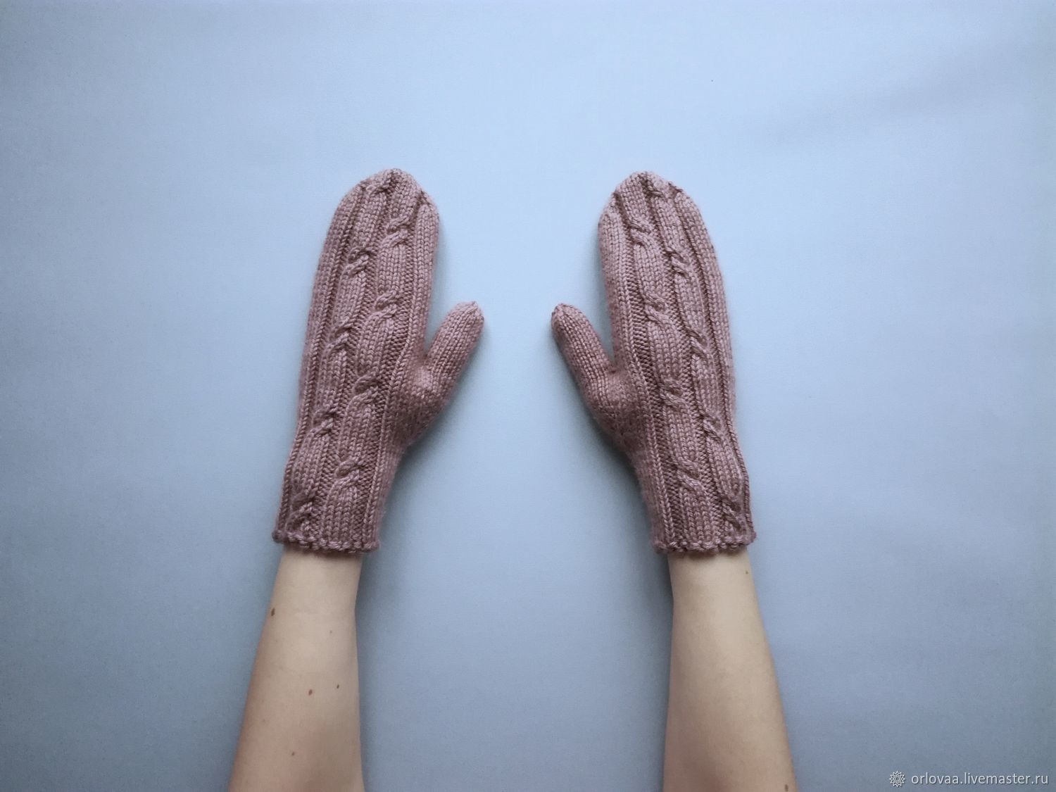 Short knitted mittens Merino cashmere ' coffee with milk', Mittens, Moscow,  Фото №1