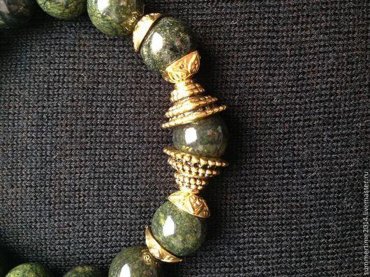 Браслеты ручной работы. Ярмарка Мастеров - ручная работа. Купить Браслет из змеевика. Handmade. Тёмно-зелёный, зеленый браслет