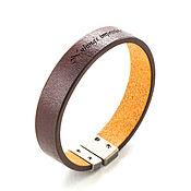 Украшения ручной работы. Ярмарка Мастеров - ручная работа Кожаный браслет Т-16 коричневый  с гравировкой. Handmade.