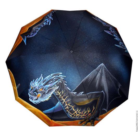 """Зонты ручной работы. Ярмарка Мастеров - ручная работа. Купить зонт ручной росписи """"Дракон Смауг"""". Handmade. Черный, хоббит"""
