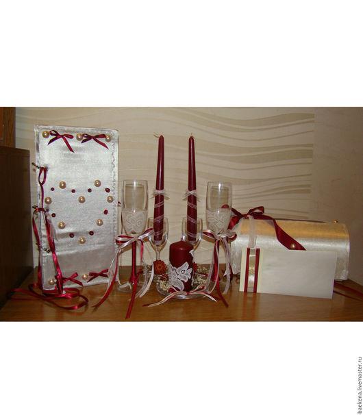 Свадебные аксессуары ручной работы. Ярмарка Мастеров - ручная работа. Купить Набор свадебных аксессуаров в цвете Марсала. Handmade.
