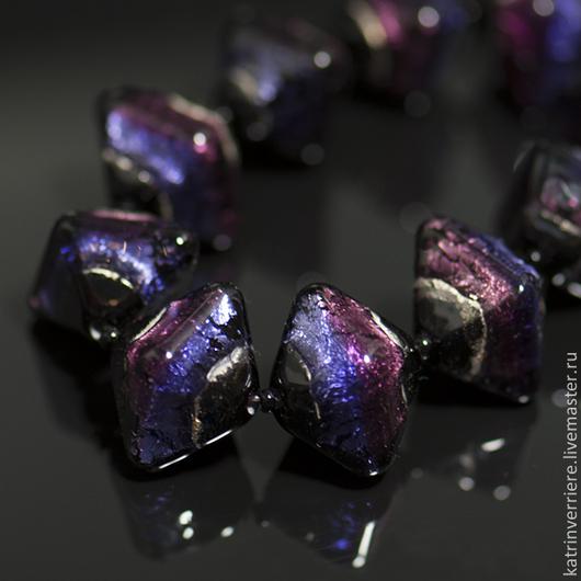 """Для украшений ручной работы. Ярмарка Мастеров - ручная работа. Купить Бусины-кристаллы """"Ночные"""". Handmade. Черный, аметистовый"""
