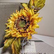 Украшения handmade. Livemaster - original item Sunflower silk in the author`s technique-