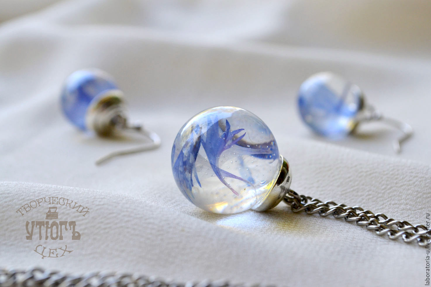 Blue Transparent pendant-Transparent ball earrings with real cornflowers, Jewelry Sets, Samara,  Фото №1