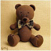 Куклы и игрушки handmade. Livemaster - original item Soft toys: Brown-eyed bear-knitted toy. Handmade.