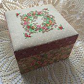 Для дома и интерьера ручной работы. Ярмарка Мастеров - ручная работа Шкатулка, крышка украшена вышивкой. Handmade.