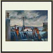 Картины и панно handmade. Livemaster - original item Cityscape pastel Parisian rooftops (blue city picture). Handmade.