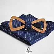 Аксессуары handmade. Livemaster - original item Wooden butterfly tie Boyar pocket square Pasha dark blue. Handmade.