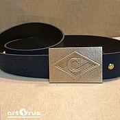 Аксессуары handmade. Livemaster - original item Brutal MEN`s genuine leather BELT WITH BRASS BUCKLE. Handmade.