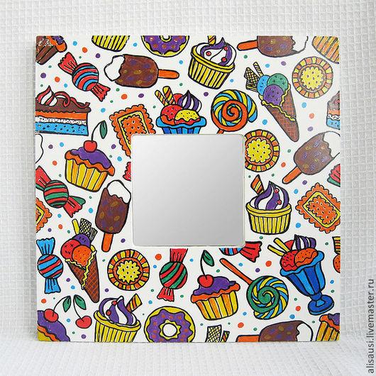 """Зеркала ручной работы. Ярмарка Мастеров - ручная работа. Купить """"Сластена"""". Handmade. Сладости, зеркало, конфеты, сладкоежка, деревянная основа"""