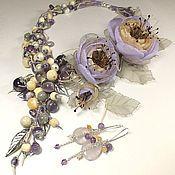 Украшения handmade. Livemaster - original item Fairy Morning Lilac. kit. Necklace, pendant, earrings, 2 brooches flower. Handmade.