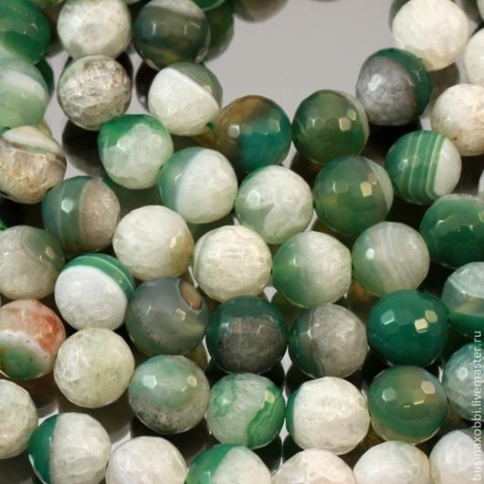 Бусины из натурального камня агата зеленого цвета формы граненый шар диаметром 12 мм комплектами по 10 штук для использования в сборке украшений