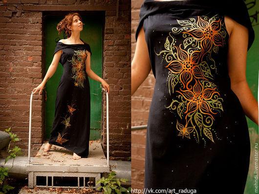 Этническая одежда ручной работы. Ярмарка Мастеров - ручная работа. Купить Эльфийское платье с ручной росписью. Handmade. Черный