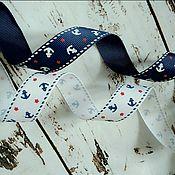 Материалы для творчества handmade. Livemaster - original item REP ribbon with Anchor pattern width 20 mm. Handmade.