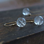 Украшения handmade. Livemaster - original item Earrings with natural quartz in gold. Handmade.