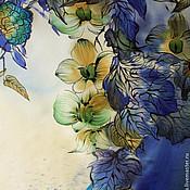 """Аксессуары ручной работы. Ярмарка Мастеров - ручная работа Платок  шелковый батик """"Полночная орхидея"""". Handmade."""