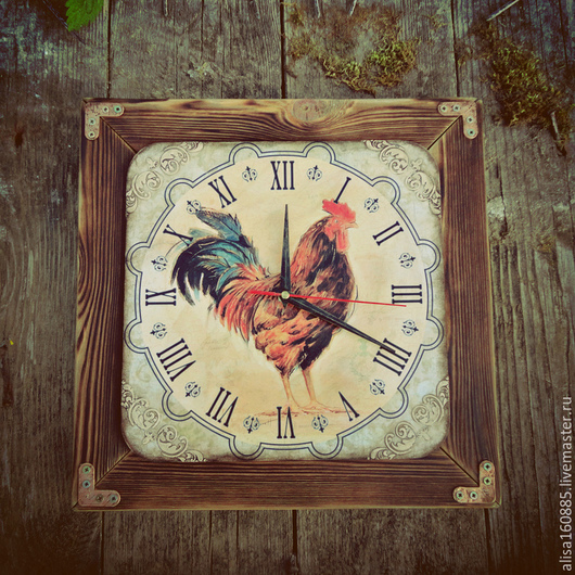 """Часы для дома ручной работы. Ярмарка Мастеров - ручная работа. Купить Часы настенные """"Прованский петух"""". Handmade. Разноцветный"""