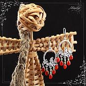 Украшения handmade. Livemaster - original item earrings of carnelian and peridot