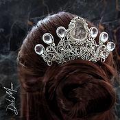 Украшения handmade. Livemaster - original item Comb with a stone crown wedding under silver