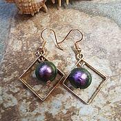 Украшения handmade. Livemaster - original item Cotton pearl earrings - black SQUARE. Handmade.