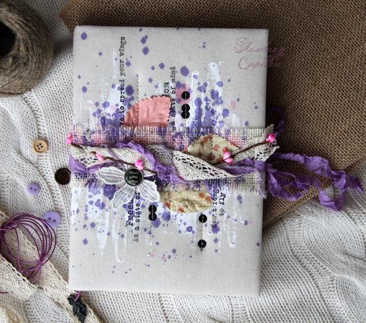 Блокноты ручной работы. Ярмарка Мастеров - ручная работа. Купить Блокнот лиловый.. Handmade. Сиреневый, тканевая обложка, скрап бумага