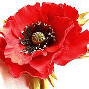"""Цветы и флористика ручной работы. Ярмарка Мастеров - ручная работа """"Мак"""" брошь из фоамирана. Handmade."""