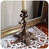 Винтаж ручной работы. Ярмарка Мастеров - ручная работа Старинный бронзовый подсвечник с ангелом. Handmade.