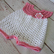 Работы для детей, handmade. Livemaster - original item Bodysuit, sandpit, cotton crocheted Romper for kids. Handmade.