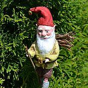 Куклы и игрушки handmade. Livemaster - original item Cotton Christmas toy Gnome with firewood. Handmade.