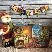 """Корзины ручной работы. Ярмарка Мастеров - ручная работа """"Новогодняя сказка"""" Новогодний чемодан,подарок. Handmade."""