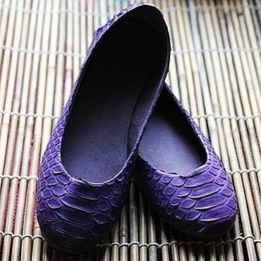 Обувь ручной работы. Ярмарка Мастеров - ручная работа Балетки  из питона фиолетовые.. Handmade.
