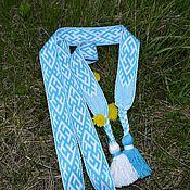 """Русский стиль ручной работы. Ярмарка Мастеров - ручная работа Пояс """"Цветок папоротника"""" бело-голубой. Handmade."""